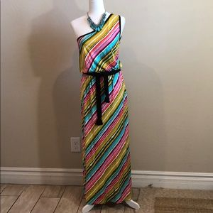 Trina Turk Vibrant One Shoulder Dress